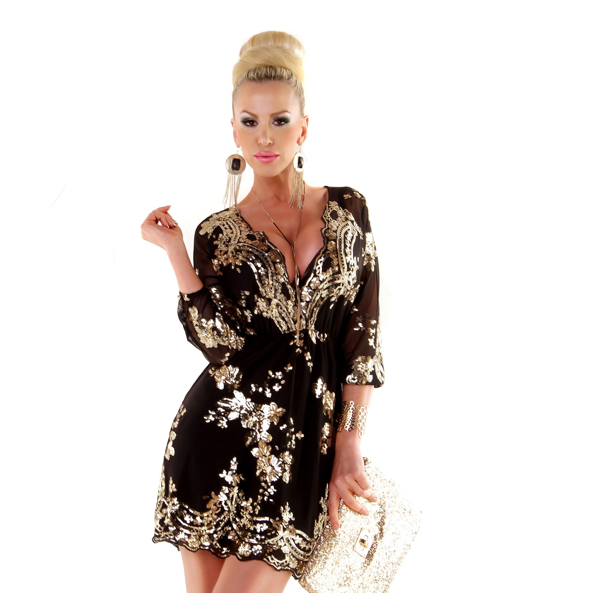 Kleid schwarz mit SILBERNEN Pailletten – Gr. XS-L – FeelgoodFashion